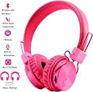 Bluetooth Headphones Wireless for Toddler Girls Boys On-Ear, Built-in Mic, Pink, Small, Durable, Lightweight, Foldable, Stere