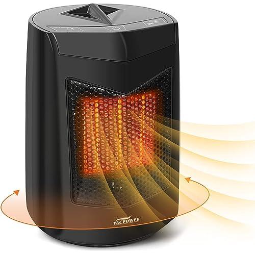 Stufetta Bagno, VACPOWER Eco Ceramic Termoventilatore, Oscillazione AutomaticaTecnologia Ceramica a Basso Consumo Energetico - Nero