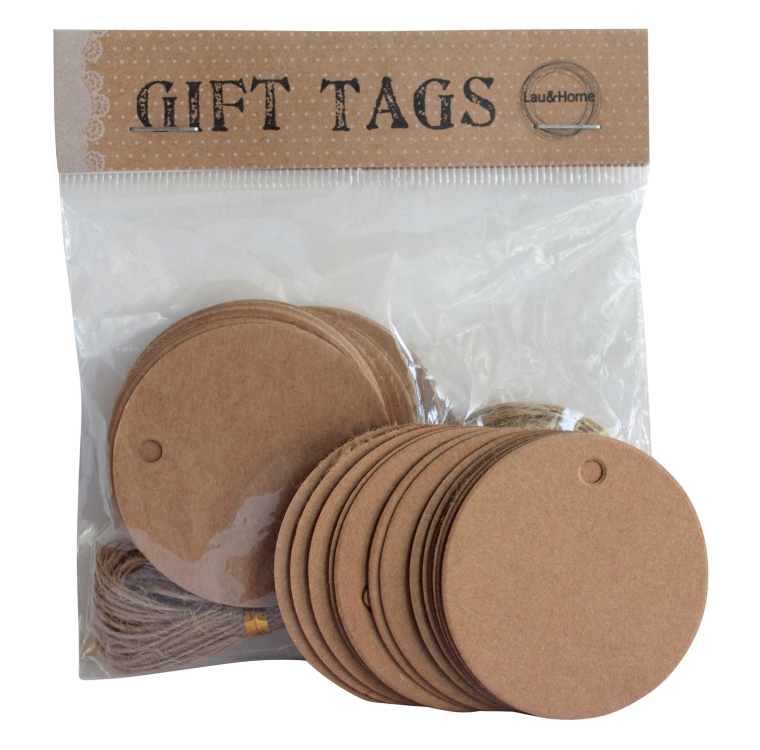 Round Brown Paper Hang Tag Price Blank Kraft Label with Strings ...