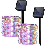 Yizhet 2 Piezas Guirnaldas Luces Exterior Solar,10M 100 LED Cadena de Luces Solares 8 Modos Guirnaldas Luminosas Solar Imperm
