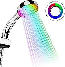 TankerStreet LED Duschkopf Regendusche Handbrause mit Farbwechsel 7 Farben Licht Automatische Temperatursensor Wasserhahn Wassersparend für Badezimmer Dekoration Sicher und Praktische 26.3x9.2x6.5cm