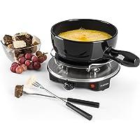 Klarstein Sirloin - Fondue au fromage, grill de table, pot en céramique émaillée, puissance 12 watts, plaque de cuisson…