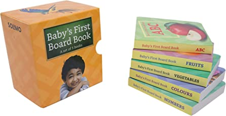 Amazon Brand - Solimo Board Books Set of 5 books (ABC, Numbers, Fruits, Vegetables, Colors)