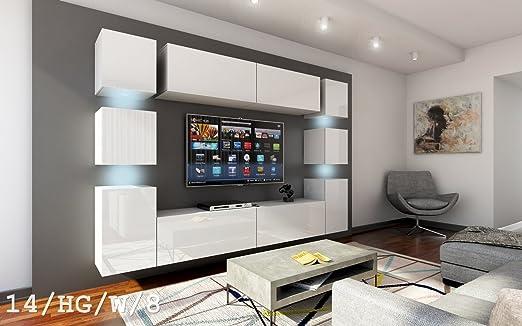 FUTURE 14 Wohnwand Anbauwand Wand Schrank Mbel TV Wohnzimmer Wohnzimmerschrank Hochglanz Weiss Schwarz LED RGB Beleuchtung HG W 8