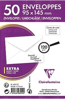 Clairefontaine 4311C Paquet De 50 Enveloppes Visite Gommees 95 X 145