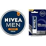 NIVEA Men Creme, Dark Spot Reduction Cream, 150ml And NIVEA Men Lip Care, Active Care Lip Balm, SPF 15, 4.8g