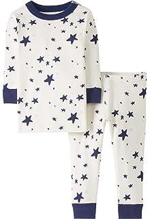Moon and Back by Hanna Andersson Blue Star stampa con stelle 3 annoni in cotone biologico 87-97 CM Pigiama a maniche lunghe per bambino piccolo 2 pezzi