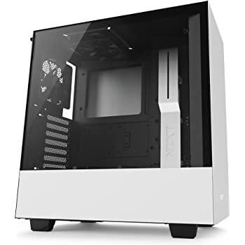 NZXT H500 White - Mid Tower Gaming PC Case, Upto ATX, Tempered Glass Panel, 2x 120mm Fan - CA-H500B-W1