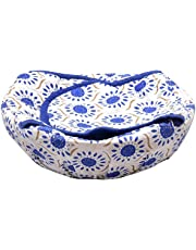 Earth Star®Roti Basket/Or Chapati Bread Basket with Cloth Traditional Assorted Color 100% Pure Cotton Big Size (9cm X 24cm X 24cm) (Pack of 1)