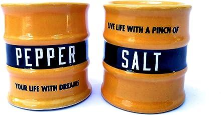 Ek Do Dhai Barrel Salt Pepper Dispensor Yellow (Set of 2)