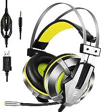 EKSA Gaming Headset, Wired Surround Sound Gaming Kopfhörer 3.5mm Stereo mit Mikrofon, Over-Ear Headphone mit Lautstärkeregler & Rauschunterdrückung & LED-Licht für PS4 / Neue Xbox One / PC/ Mac/ Phone/ iPad /Smartphone (Gelb)