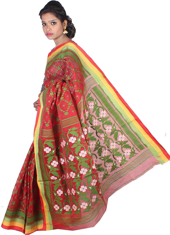 86d01f01258db7 ar shop Women s Cotton Silk Handloom Dhakai Jamdani Tant Saree ...