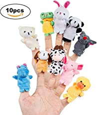 Toywale 10pcs Different Cartoon Animal Finger Puppets Soft Velvet Dolls Props Toys (Multicolour)
