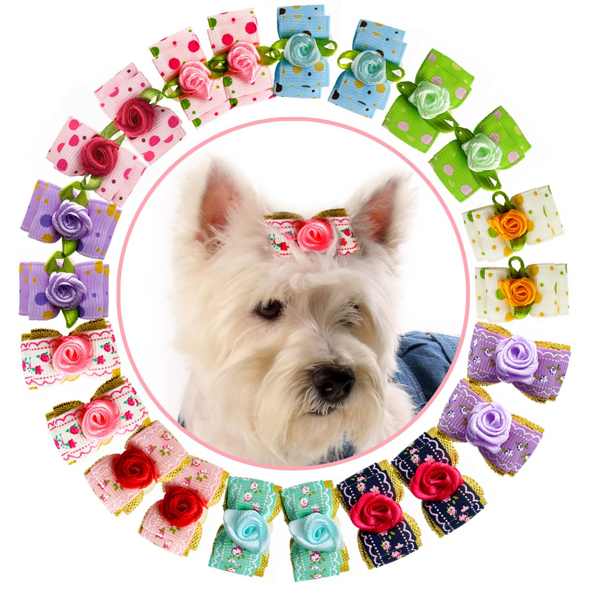 HOLLIHI 24 pcs/12 Pairs Adorable Grosgrain Ribbon Pet Dog Hair Bows with Elastic Rubber Bands – Doggy Kitty Bowknots Topknot Grooming Accessories Set for Long Hair Puppy Cat