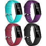 Dirrelo Kompatibel med Fitbit Charge 3 rem/Fitbit Charge 4 rem för män kvinnor, 4-pack vattentäta justerbara silikonersättnin