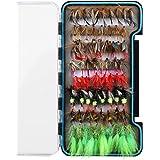 HXC Juego de 8 moscas secas de acero inoxidable con plumas biónicas para pesca con mosca, con caja impermeable, paquete de 68