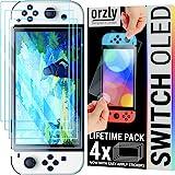 Orzly paquete de protectores de pantalla para la consola OLED de Nintendo switch modelo 2021 - Paquete de 4 vidrio templado c