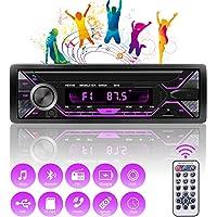 Autoradio Bluetooth Mains Libres 1 DIN, Récepteur Radio Voiture 4x60W Support FM/USB/MP3/WMA/TF/AUX +Télécommande…