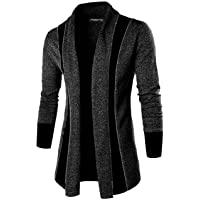 DENIMHOLIC Black Solid Lapel Collar Slim Fit Full Sleeve Men's Cardigan