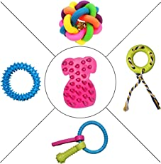 Jainsons Pet Products Dog & Puppy Rubber Chew Toys, Multi Color Ball, and Cotton Chew Toy