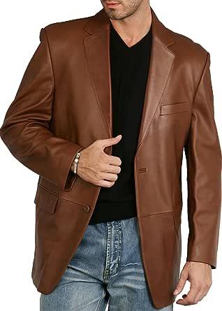 BGSD Men's Richard Classic Leather Blazer Lambskin Sport Coat Jacket (Regular, Big & Tall and Short)