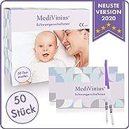 MediVinius Schwangerschaftstest Frühtest 50 Stück - Frühschwangerschaftstest einfach & schnell in 5 Minuten - Schwangerschaft