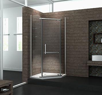 fünfeck-duschkabine pentagono 90 x 90 x 195 cm ohne duschtasse ... - Dusche Ohne Duschwanne Bauen