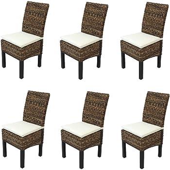 Set 6x sedia sala da pranzo M69 intreccio di banano ~ gambe scure con cuscini