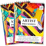PRINTELLIGENT Artists Sketch Book Drawing Book (50 Sheets, 100 Pages) Perforated 140 GSM Craft Book (A5 Size - Pack of 2)