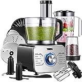 TIBEK Robot Multifonction 2L Robot de cuisine Collection Bol et 1.5L Blender, Hachoir Electrique,Blender,Mixeur Batteur,Moulin avec 3 Disques Moteur 1100watts, Inox