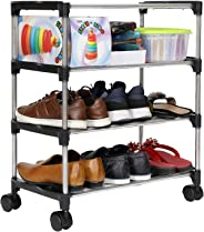 Happer Premium 3-Tiers Shoe Rack/Multipurpose Storage Rack with 4 Caster Wheels, Classic (Black & Silver)
