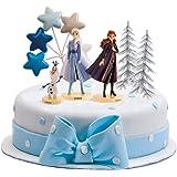 dekora 350144 Gateau   Figurine Reine des Neiges-Anna, Frozen, Olaf et Autres Décorations-Grande, Multicoleur