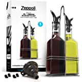 Zeppoli Oil and Vinegar Bottle Set 5oz - Comes with Stainless Steel Rack, Removable Cork, Funnel, and Spout Caps - Dual Cork