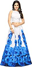 Nplash Fashion Women's Satin Silk Floral Printed Long Skirt Gown and Top, Free Size(Blue and White, !Rose blue)