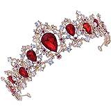 Lurrose Corona de Novia de Boda Peinetas Corona de Cristal Diamantes de Imitación para Boda Novia Fiesta Mujeres (rojo)