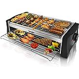 Barbecue Electrique de Table, Grille Barbecue Electrique 2000W Double Étages, Gril en Acier Inoxydable avec Bac Collecteur d'