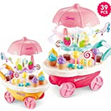 brand conquer luxury sweet shopping battery operated 39 pcs ice cream trolley pretend roll plastic play set with led lights a