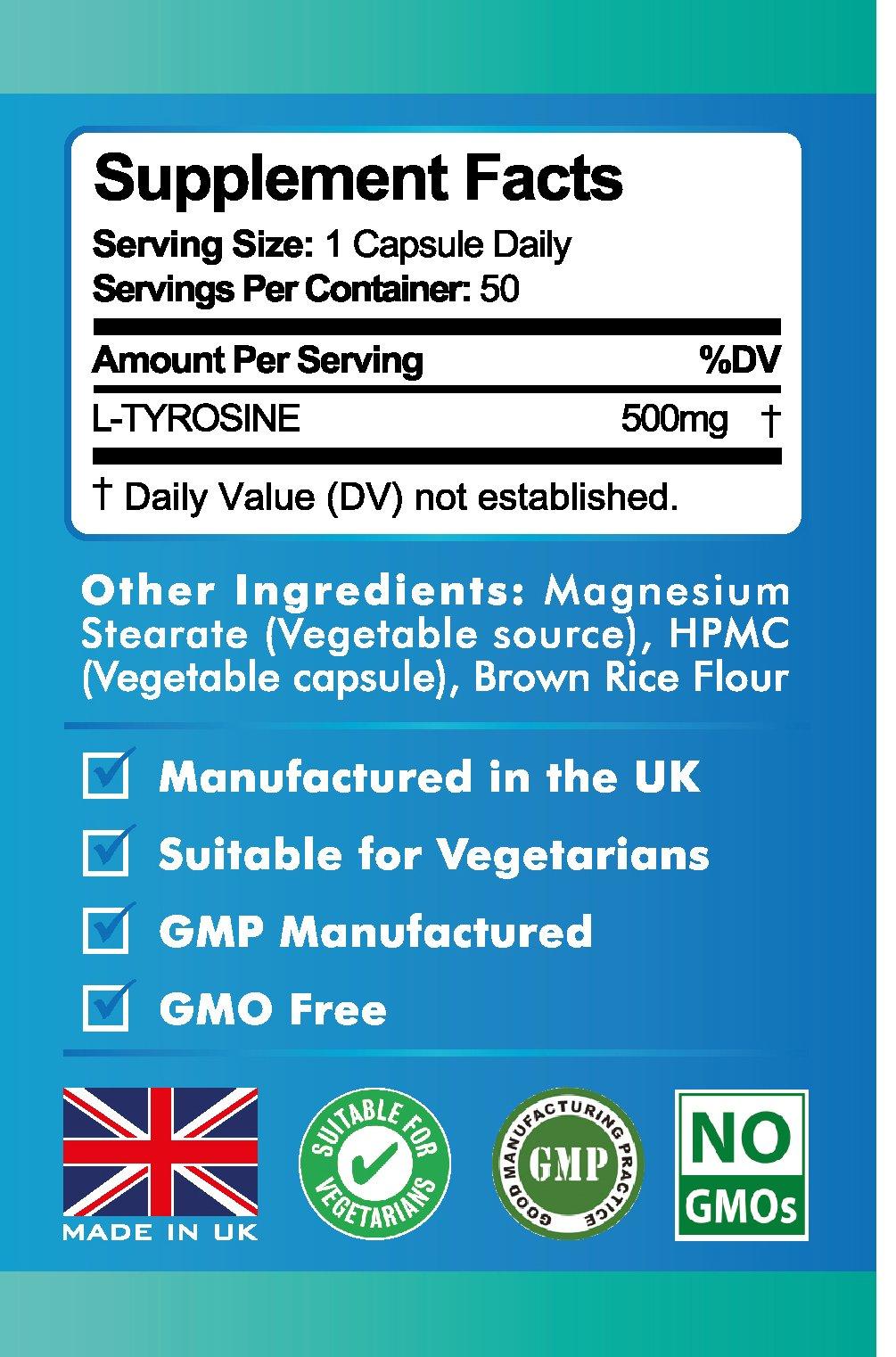 71BfItduV2L - L-Tyrosine Extra Strength, Amino Acids, 50 Veggie Capsules by Vita Premium