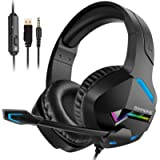 BINNUNE Gaming Headset with Microphone for PS4 PS5 Xbox One PC, Playstation 4 5 Headphones Mic