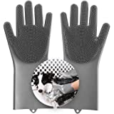 Aufew Magic Pet Grooming Gloves Dog Bathing Scrubber Gloves, Heat Resistant Eco-Friendly Silicone Hair Removal Gloves with Hi