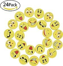 Willingood, 24 Stück Emoji Smiley Radiergummis für Kinder, als Geburtstagsgeschenk und Spielzeug, 24 Radierer, verschiedene Motive