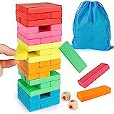Coogam Blocs en Bois Jeu D'empilement avec Sac De Rangement, Coloré Équilibrage Puzzles Jouets d'apprentissage Éducatif Tri F