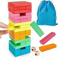 Coogam Blocs en Bois Jeu D'empilement avec Sac De Rangement, Coloré Équilibrage Puzzles Jouets d'apprentissage Éducatif…