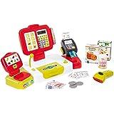 Smoby - Grande Caisse Enregistreuse Rouge - 27 Accessoires - Balance Mécanique - Vraie Calculatrice + Scanner Son et Lumière