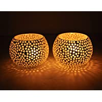 TIED RIBBONS Mosaic Glass Tealight Candle Holders(Pack of 2) - Diwali Decorations Items for Home and Diwali Gifts