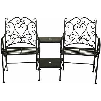 Charles Bentley - Ensemble chaises de Jardin et Table intégrée - Fer ...