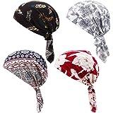 Opopark 4 Pezzi Bandana da Donna Testa Sciarpe Stampato Turbante Fascia per Capelli Cappello da Chemio Berretto da Lavoro Cop