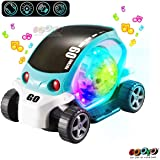 Gooyo 360 Degree Rotating Stunt Car Bump and Go Toy with 4D Lights Electric Toy Cars for Kids with Lights and Music Dancing Toy, Battery Operated Toy - Assorted Color for Toddlers Boys Kids