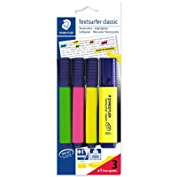 STAEDTLER 364 A BK4D Textsurfer Highlighter Bonus Pack, Assorted Colours, Pack of 3+1