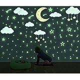 171 Pcs Stickers Muraux Fluorescent Étoile pour Chambre Fille,Lumineux Autocollant Étoile et Lune pour Chambre D'enfant/Bébé,